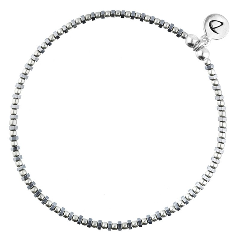 Bracelet élastique GRAIN DE FOLIE - Perles argent & Hématites grises DORIANE BIJOUX