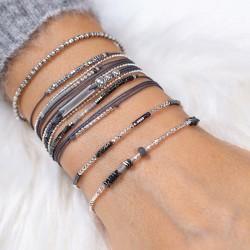 Bracelet élastique GRAIN DE FOLIE - Perles argent & Hématites grises TAILLE M
