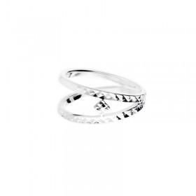 Bague large double anneaux & Carré solitaire en argent diamanté - Palma signée DORIANE Bijoux