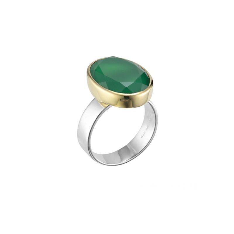 Bague large argent doré & Pierre Onyx vert ovale CANYON BIJOUX