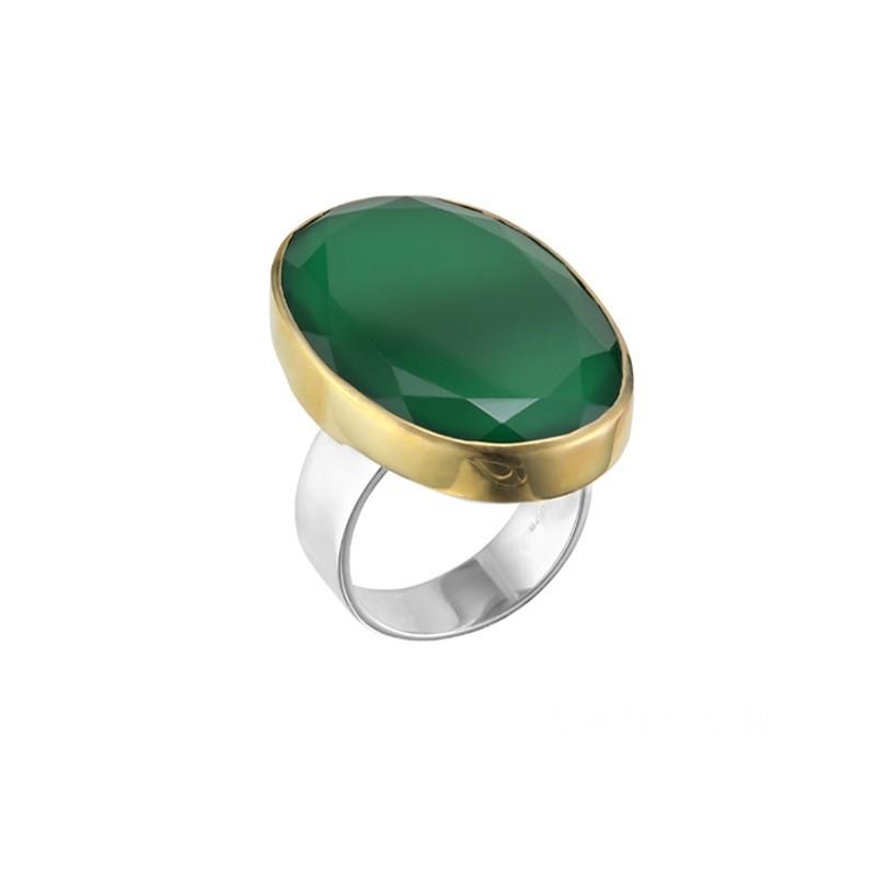 Grosse Bague argent doré & Pierre Onyx vert ovale CANYON BIJOUX