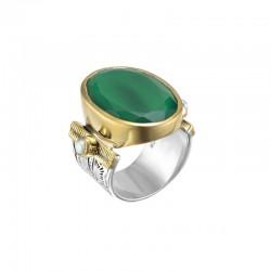 Grosse bague ethnique argent doré - Onyx vert ovale & Perles blanches CANYON BIJOUX