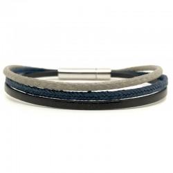Bracelet jonc multi-rangs - Métal & liens marron bleu et beige LOOP AND CO