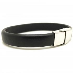 Bracelet Jonc  Homme Cuir noir Lisse LOOP AND CO