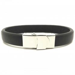 Bracelet jonc large homme - Cuir lisse brut noir & Boucle métal Loop and Co