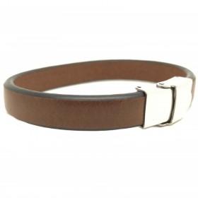 Bracelet LOOP AND CO en cuir plat et lisse de couleur marron