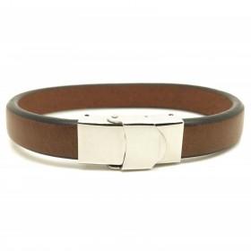 Bracelet jonc large homme - Cuir lisse brut marron & Boucle métal Loop and Co