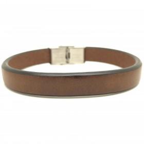 Beau cuir brut marron pour ce bracelet Loop and Co