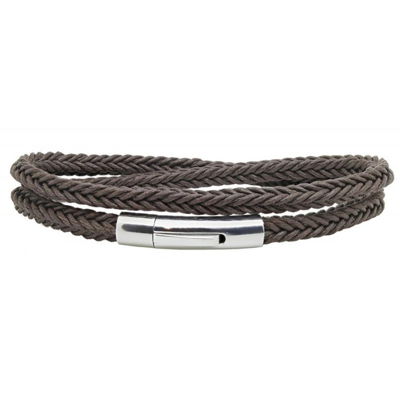 Bracelet jonc multi-tours Mixte - Coton tressé carré & Clic métal LOOP AND CO