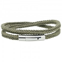 Bracelet jonc multi-tours Mixte - Coton tressé carré kaki & Clic métal LOOP AND CO