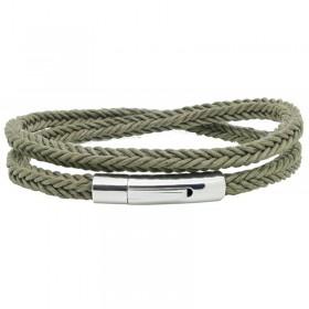 Bracelet jonc multi-tours Mixte - Coton tressé carré kaki & Clic métal LOOP AND CO