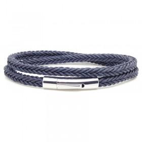 Bracelet jonc multi-tours Mixte - Coton tressé carré bleu & Clic métal LOOP AND CO