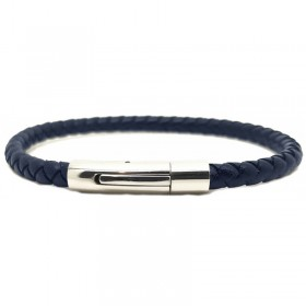 Bracelet jonc homme Cuir bleu marine - Tressé serpent rond LOOP AND CO
