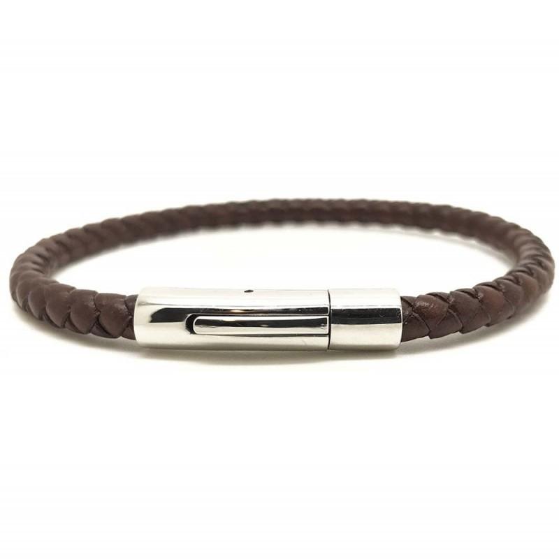 Bracelet jonc Mixte - Cuir tressé serpent rond marron & Clic métal LOOP AND CO