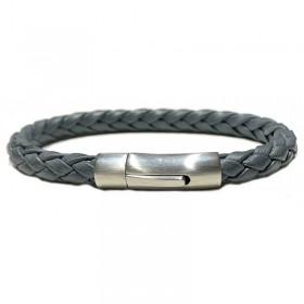 Bracelet jonc Mixte - Cuir tressé vintage gris & Clic métal LOOP AND CO