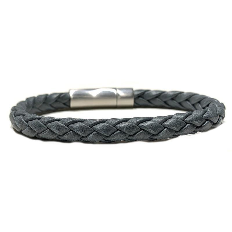Bracelet jonc Cuir tressé Vintage gris - Fermoir métal LOOP AND CO