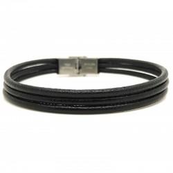 Bracelet Loop and Co aux 3 liens de cuir noirs