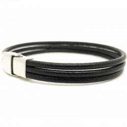 Bracelet jonc large homme - 3 liens cuir rond noir & Boucle métal LOOP AND CO