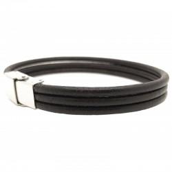 Bracelet jonc large homme - 3 liens cuir rond marron & Boucle métal LOOP AND CO