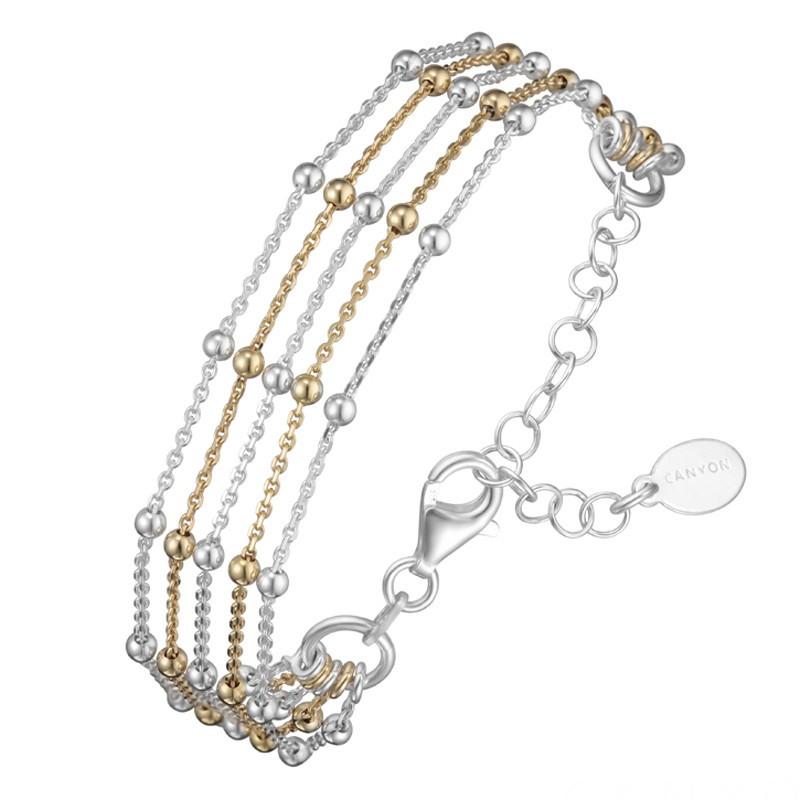 Bracelet multi-rangs Argent Or jaune - Cinq Chaînes boules & Petites boules CANYON