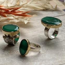 Bague large argent doré & Pierre Onyx vert ovale TAILLE 54