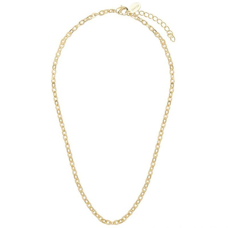 Collier court chaîne dorée 42 cm - Maillons forçats serrés ronds & plats  CANYON