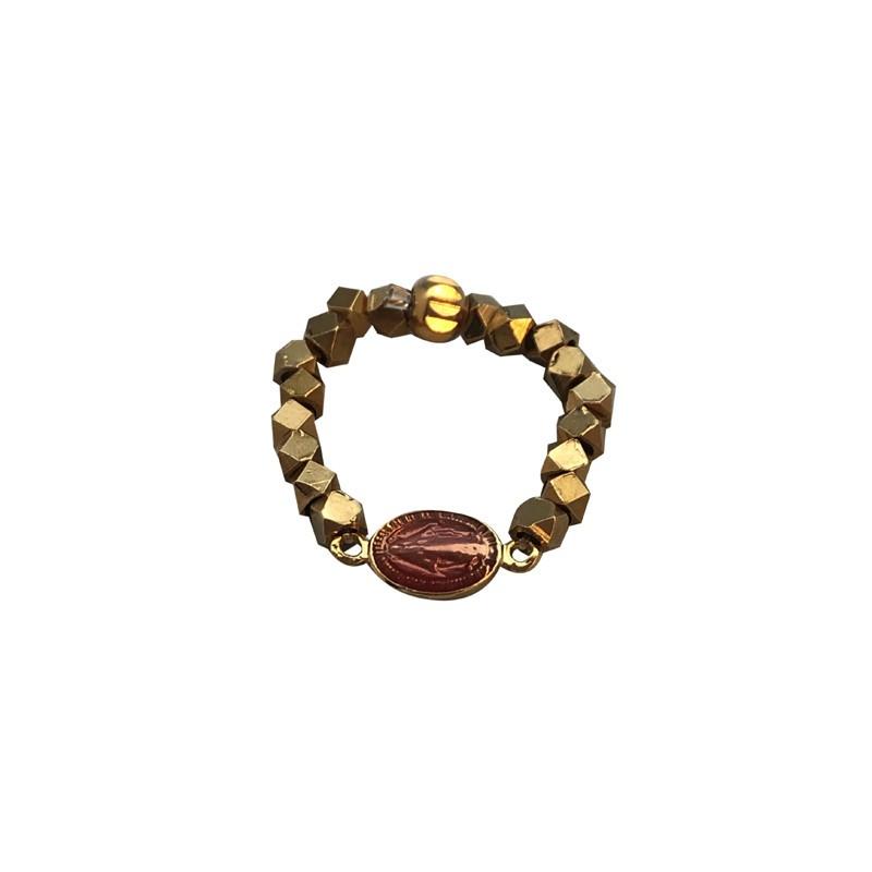 Bague Fine élastique MARIA doré - Pépites & Médaille ovale émail rose BY GARANCE