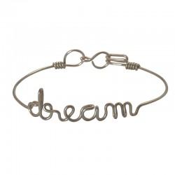 Bracelet jonc fin Argent & Ecriture Dream BY HAVA