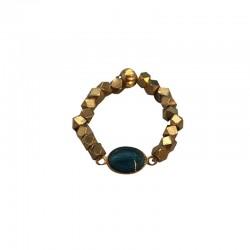 Bague élastique MARIA doré - Pépites & Médaille Madone ovale Email bleu BY GARANCE