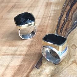 Grosse bague argent doré - Chevalière rectangulaire & Onyx noir transversal TAILLE 58