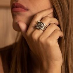 Bague Large tout métal 3 anneaux - Jeu de mains CICLON