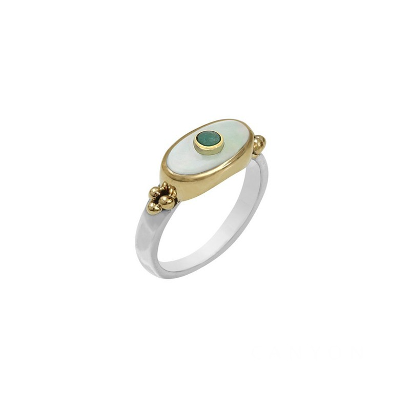 Bague fine Argent doré - Nacre blanche rectangle & Emeraude - CANYON