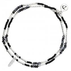 Bracelet multi-tours élastiqué argent - Perles miyuki noires & Plume DORIANE BIJOUX