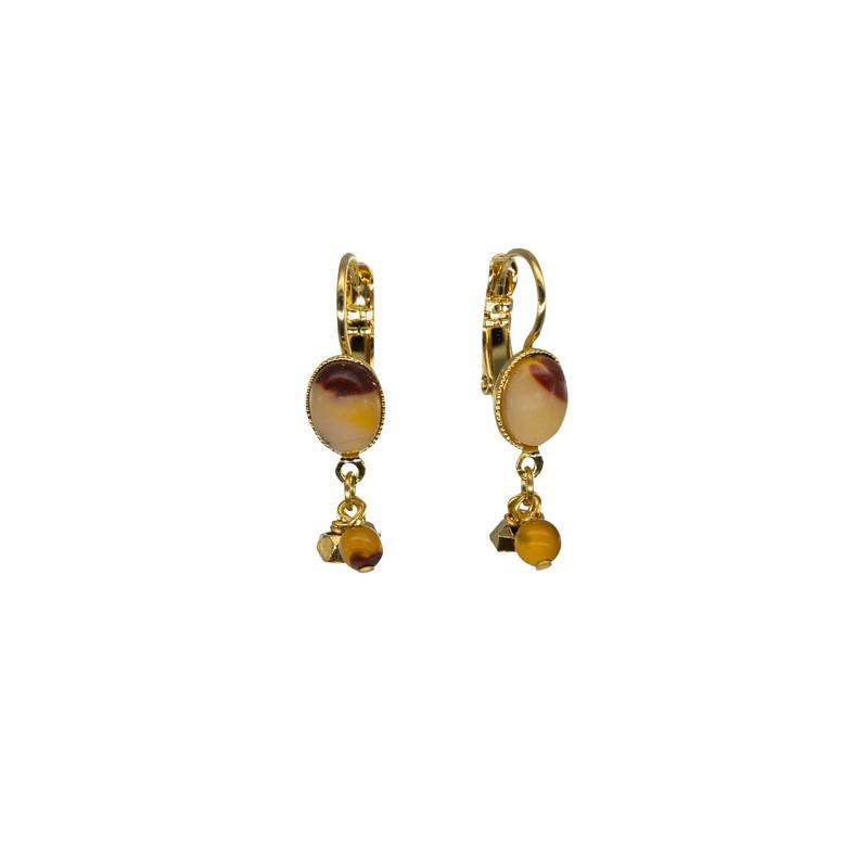 Boucles d'oreilles pendantes AMANDA Or - Cabochons moutarde & prune BY GARANCE