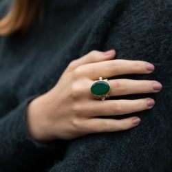Grosse bague ethnique argent doré - Onyx vert ovale & Perles blanches TAILLE 54