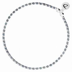 Bracelet élastique GRAIN DE FOLIE en argent - Perles argent & bleues signé DORIANE Bijoux