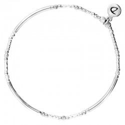Bracelet élastiqué en Argent - Tubes lisses & diamantés DORIANE