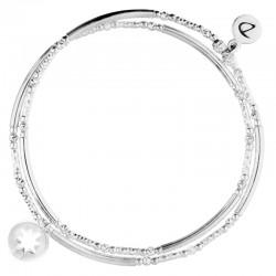 Bracelet multitours élastique Argent - Tubes lisses diamantés & Rose des vents - DORIANE Bijoux