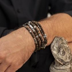 Bracelet homme élastiqué argent GIPSY - Perles bois kaki & Décors ethniques