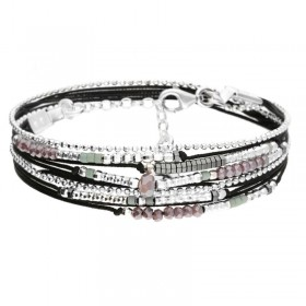 Bracelet multi-tours ATLANTA perles argent - Cordons noirs & Perles vert violet - DORIANE Bijoux
