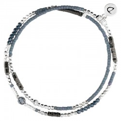 Bracelet multi-tours élastiqué CANBERRA en argent - Hématites bleues - DORIANE Bijoux