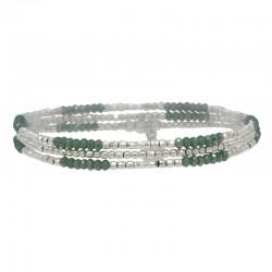 Bracelet multi-tours élastiqué Triple argent - Perles de verre kaki - DORIANE Bijoux