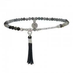 Bracelet fin élastique BRUT en argent  - Perles de verre grises & Pompon - DORIANE Bijoux