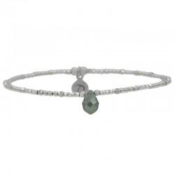 Bracelet élastique Lollipop Perles argent & Goutte en cristal gris DORIANE BIJOUX