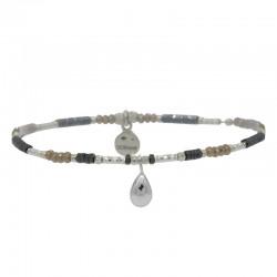 Bracelet élastique Perles argent Choco clair Hématites & Pampille goutte argent DORIANE BIJOUX