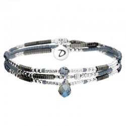 Bracelet élastiqué triple tours DUBLIN - Hématites Perles Argent & Bleues DORIANE BIJOUX