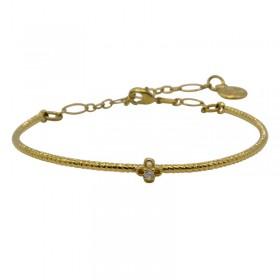 Bracelet fin Jonc ajustable Chance doré - Trèfle pierres multicolores - BY GARANCE