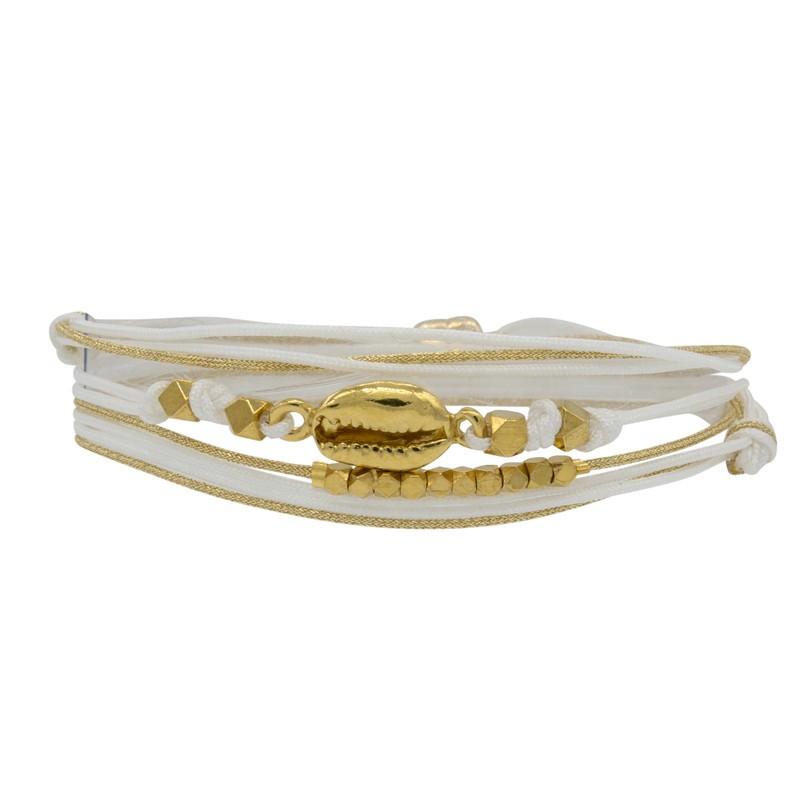 Bracelet multi-tours CORIE doré - Cordons & Perles blanches  - BY GARANCE