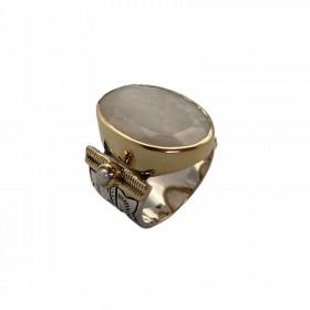 Grosse bague ethnique argent doré - Pierre de lune & Perles blanches CANYON