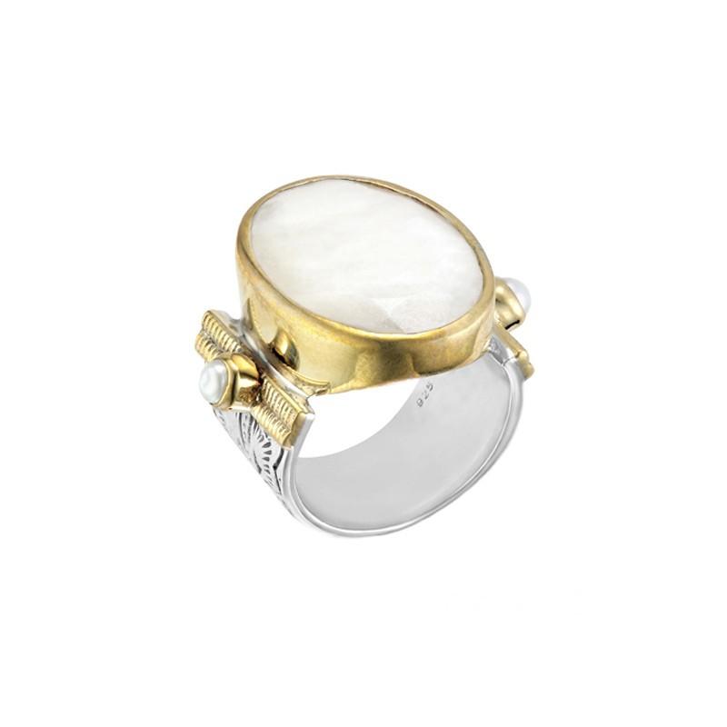 Grosse bague ethnique argent doré - Pierre de lune & Perles blanches CANYON BIJOUX